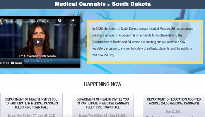 SD launched a website to answer questions and provide information about the upcoming medical cannabis program.